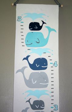 Playful Whales Growth Chart - Navy Aqua and Baby Blue by FortunatelyCrafted  $50.00 at Fortunately Crafted on Etsy!   ** If you found me on Pinterest, get 10% off your order with coupon code PINNERS10 **  https://www.etsy.com/listing/193870338/playful-whales-growth-chart-navy-aqua?