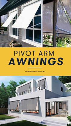 Pivot Arm Awnings keep heat out of your home, keeping you comfortable and saving you money on cooling. Cover your entire window while still allowing air to circulate by installing Pivot Arm Awnings. Find your inspiration for the best Pivot Arm Awnings for your home today!  #awnings  #canberra  #pivotarmawnings Modern Blinds, Modern Windows, Modern Curtains, Modern Window Treatments, Bathroom Window Treatments, Custom Made Curtains, Custom Blinds, Blockout Blinds, Kitchen Window Coverings