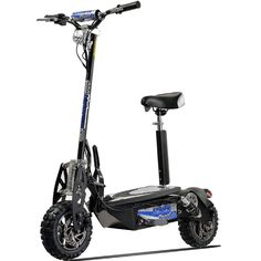 This is one of the fastest electric scooters: the Uberscoot 1600. It can speed up to 35MPH. It costs less than 700 bucks.