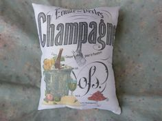 Champagne and Strawberries Pillow from Vintage by Maisonvogue, $15.00