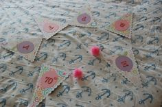 Handmade Personalised Card Bunting - 6 Flags Your choice of colours and message  £5.99