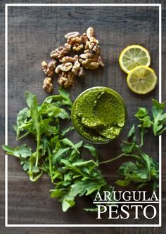 ARUGULA PESTO - makes about 1 cup  insp. by thekitchn: 2 cloves garlic 6 cups arugula 1 cup fresh basil 1 cup toasted walnuts 1/2 cup extra virgin olive oil juice of 1 lemon (about 2 tablespoons) 3 tablespoons nutritional yeast kosher salt & fresh cracked pepper  ...Transfer to an airtight container and store in a refrigerator for  up to 1 week.