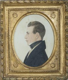 RUFUS PORTER (1792-1884). MINIATURE PROFILE PORTRAIT OF A MAN WEARING A BLACK CRAVAT AND WAISTCOAT. Est. $800-$1,200