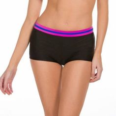 Danskin Now Women's Sporty Boyshort Swimsuit Bottom, Size: Medium, Multicolor