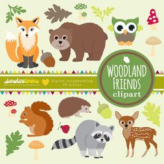 Woodland Friends Clipart  Woodland Creatures by SunshineLemons. Love it...so cute!!!