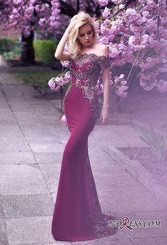Glamorous Off-the-Shoulder 2018 Evening Dress Lace Mermaid Party Gowns On Sale_High Quality Wedding Dresses, Prom Dresses, Evening Dresses, Bridesmaid Dresses, Homecoming Dress - 27DRESS.COM