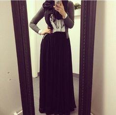 Black maxi skirt + gray cardi. Love the neutrals