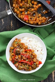 Sweet and Sour Chickpeas, Peppers, and Broccoli. Easy Weeknight One Pot Protein…