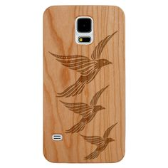 wooden iPhone and Galaxy Phone Cases, Laser Engraved- 3 Flying Doves