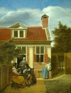 Vermeer vs de Hooch  De Hooch depicted the same subject matter as his contemporary Johannes Vermeer. There is, however, a great distinction between their styles. This is especially evident in the brickwork, which De Hooch painted with great precision, while Vermeer merely suggested the presence of stones. Pieter de Hooch seems to have struggled with the perspective of this painting: the woman at the rain barrel is much smaller than the figures sitting at the table.  Which painting do you…