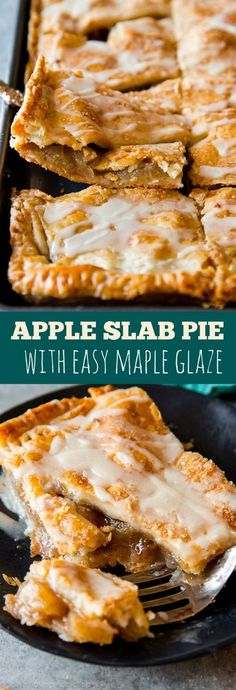 You'll never want to make a traditional pie again! This apple slab pie is a crowd-pleaser. Complete with maple icing-- full step-by-step recipe on http://sallysbakingaddiction.com