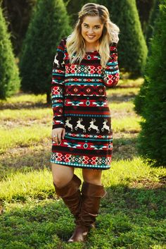 Here's To The Holidays Dress: Brown/Multi #shophopes