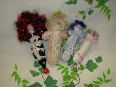 Fabric dolls with lace and beads. Comfort doll project