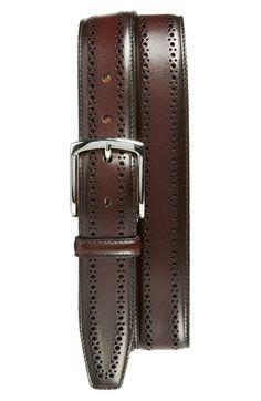 Handsome belt for the handsome man | Allen Edmonds 'Manistee' Brogue Leather Belt