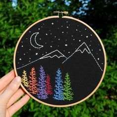 Mountain and stars hoop art 7 embroidery hoop by TheBeefyChicken