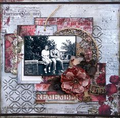Remember ~ Beautiful heritage collage page with lovely handmade paper flower. The chipboard circle frame from Leaky Shed Studios (large Ring Frame) was embossed with Stampendous aged silver embossing enamel for a great vintage look.