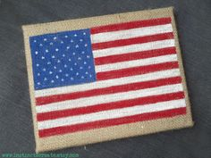 USA!! American flag on burlap www.instinct2create.etsy.com