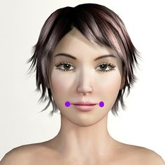 Facial Rejuvenation Acupressure point Stomach 4 (St4) has many health benefits: it helps relieve wry mouth (crooked jaw, deviation of mouth from stroke), salivation, twitching of the eyelids, twitching of the corner of the mouth (Bell's palsy, trigeminal neuralgia) and facial pain: facial paralysis, toothache. #acupressure #twitching #salivation
