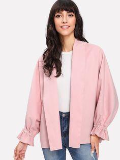 Shein Pearl Beaded Ruffle Cuff Oversized Coat