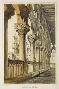 "John Ruskin ""Venice Architecture- The Ducal Palace Renaissance Capitals of the Loggia"" 1887 by Plum leaves Classic Architecture, Architecture Drawings, Architecture Details, Architecture Artists, Landscape Architecture, Renaissance Architecture, Renaissance Art, Birmingham Museum, John Ruskin"