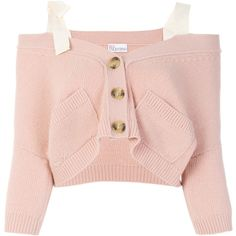 Red Valentino off the shoulder button cardigan (1.725 BRL) ❤ liked on Polyvore featuring tops, cardigans, shirts, pink shirt, pink off the shoulder top, crop tops, light pink cardigan and off-shoulder tops