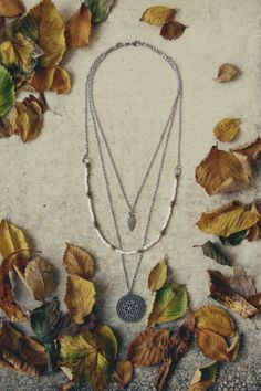 """Autumn is almost here! Ananke Jewelry new design. Silver, layered, beaded necklace with mandala and leaf pendants. Handmade boho / hippie style, rustic and natural look. A lovely gift idea for mom, sister, girlfriend, wife or daughter. Visit and """"Favorite"""" to my Etsy shop to see more bohemian necklaces and to stay updated: Anankejewelry.etsy.com"""