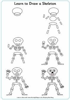 Here's a fun activity for the kids this Halloween! Learn to draw all sorts of Halloween pictures with our simple step by step tutorials. Halloween Pictures To Draw, Halloween Drawings, Halloween Art, Skeleton Drawings, Skeleton Art, Easy Drawings, Halloween Symbols, Halloween Silhouettes, Drawing Lessons For Kids