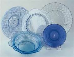 Blue depression glass