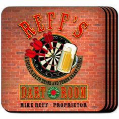 "Darts Personalized Beverage #Coaster Set. The Darts enthusiast or home bartender will appreciate these sets of four richly detailed, waterproof coasters, which reflect his fave activity. Our personalized coasters are a perfect accessory to any bar or family room. Our Darts Personalized Coaster Set's personalized design is printed in full color onto a non-skid cork base. Includes 4 coasters and mahogany caddy for storage. Each coaster measures 3.75"" x 3.75"". Specify name, and year."