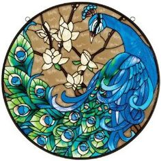 Springtime's Peacock Glass Art Panel  $55.90 www.allthingspeacock.com - Peacock Stained Glass