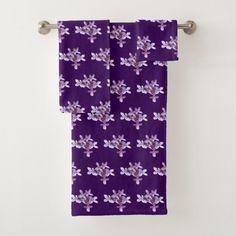 Lilac Garden Flowers Floral Bath Towels
