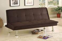 Furniture of America Neela Modern Microfiber Futon Sofa Espresso