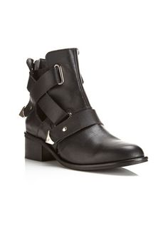Leather biker boot with cross over side strap detailing. 100% Leather...Naomi Leather Black Biker Boot...$130