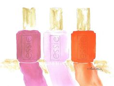 Essie Nail Polish watercolor digital print 5 by 7 by Laura Trevey. Fine Art and Fashion Illustration. Gifts and Home Decor. Accents for your Home.