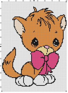 Pm kat farvet C2c Crochet, Plastic Canvas Patterns, Cross Stitch Charts, Coloring For Kids, Animals For Kids, Cross Stitching, Pixel Art, Diy And Crafts, Dog Cat