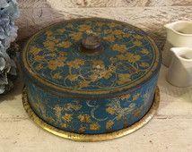 Primitive Antique Cake Carrier, Farmhouse Metal Cake Carrier, Avon Perfection, Blue Cake Tin Box, Cottage Chic, Vintage Kitchen, PATINA