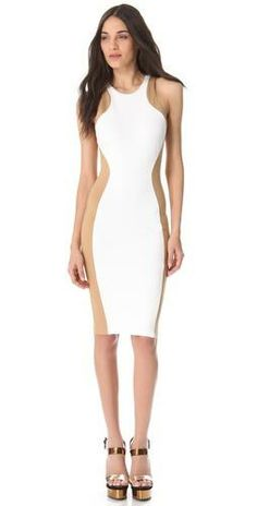 Lovely dress that shows off your silhouette rom Torn by Ronny Kobo #currentlyobsessed #fashion #colourblock #white #nude