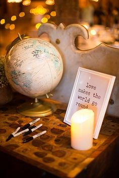 27 Creative Ideas For A Travel-Themed Wedding -sign a guest globe