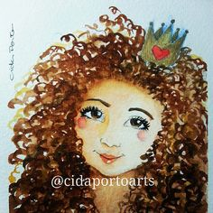 Watercolor Curly Hair Sketch Book Portrait