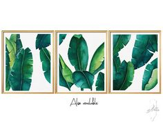 3 Set Art Prints, Wall Art Prints, Digital Download, Leafs SET - 6 Files, Banana leaf print , Leaf printable ,Banana Leaf ,Watercolor Art