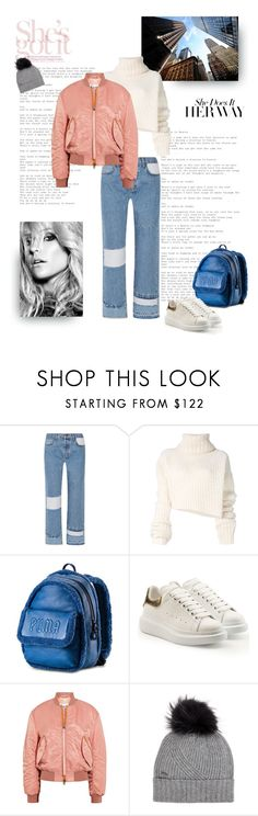 """Bomber Jacket + Jeans + Sneakers + Backpack"" by shoptillyadrop ❤ liked on Polyvore featuring Current/Elliott, Ann Demeulemeester, Kristin Cavallari, Puma, Alexander McQueen, Acne Studios, Woolrich, denim and sporty"