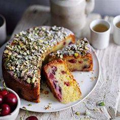 Cherry and marzipan cake with orange blossom syrup and toasted pistachios