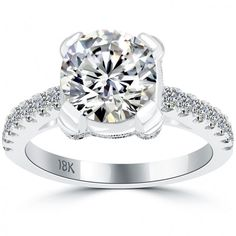 3.28 Carat F-SI2 Certified Natural Round Diamond Engagement Ring 18k White Gold - Thumbnail 1