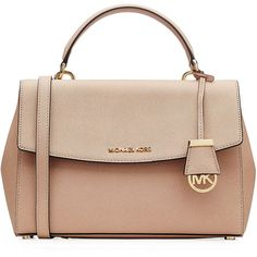 Michael Michael Kors Ava Small Leather Tote (402 AUD) ❤ liked on Polyvore featuring bags, handbags, tote bags, purses, totes, rose, tote handbags, leather handbag tote, leather hand bags and leather tote purse