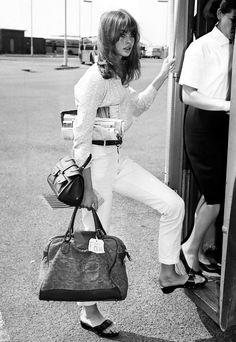 Jean Shrimpton wearing her original Dr. Scholl's exercise sandal.
