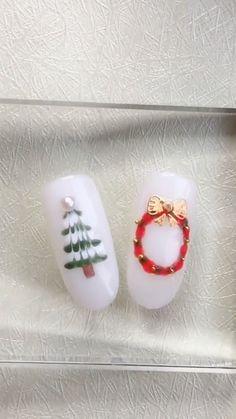 Chrismas Nail Art, Christmas Tree Nail Art, Nail Art Noel, Cute Christmas Nails, Xmas Nails, Easter Nails, Fun Nails, Christmas Design, Nail Art Designs