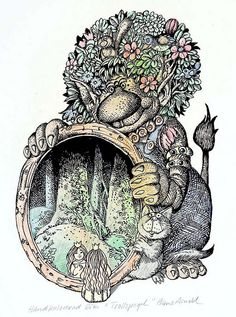 """Troll spegel"" Hans Arnold Troll, Work In Sweden, Creepy Horror, Best Artist, Horror Stories, Adult Coloring, Fairies, Fairy Tales, Illustration Art"