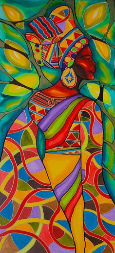 African woman in pretty colors, beautiful painting idea.
