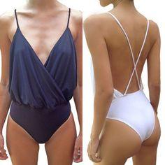 Women Sexy Spaghetti Strap Backless Bodysuit Strappy Tops Jumpsuit