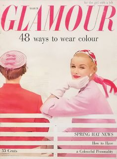 magazine covers, march 1954, fashion clothes, magazin cover, color combos